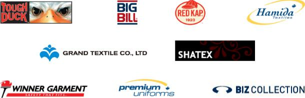 Tough Duck, Big Bill, Red Kap, Hamida Textiles, Grand Textile Co, Shatex, Winner Garment, Premium Uniforms, Biz Collection logos